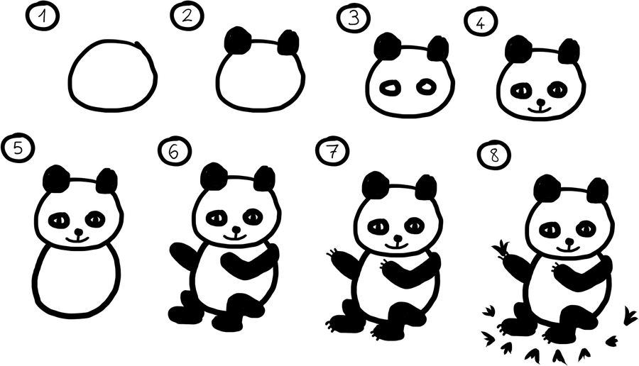 How to Draw a Baby Panda Bear
