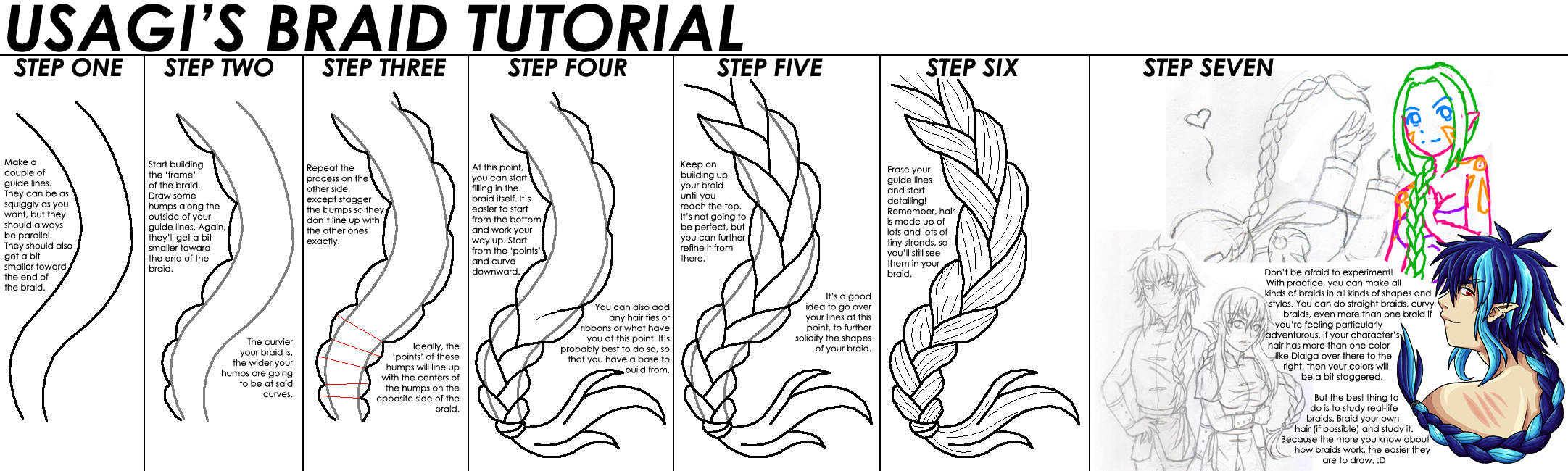 Way to Draw a Braid From Side